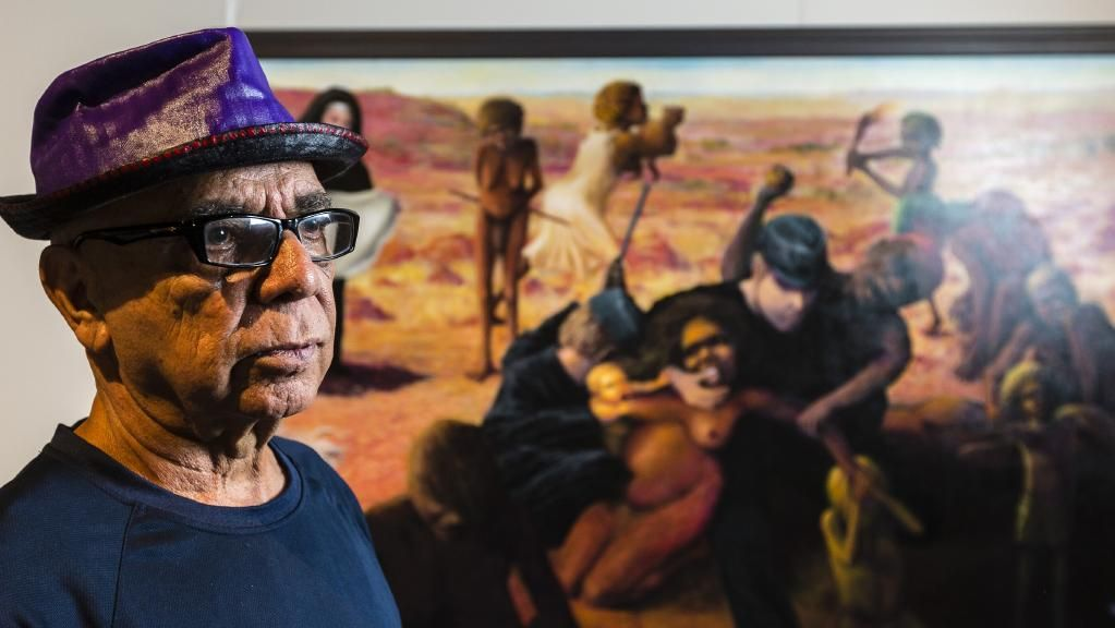 Harold-Thomas-with-Tribal-Abduction-at-Museum-and-Art-Gallery-of-the-NT-Courtesy-The-Australian-Photo-Amos-Aikman